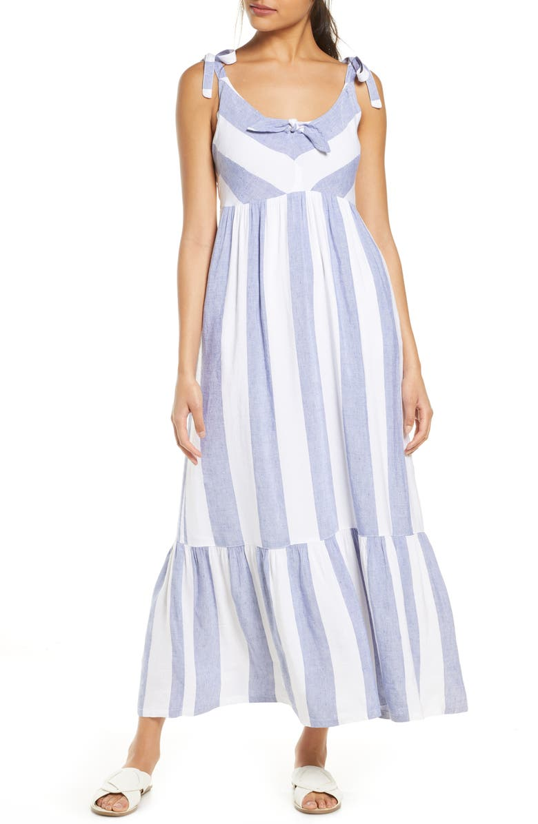 TOMMY BAHAMA Rugby Beach Stripe Cover-Up Maxi Dress, Main, color, WHITE