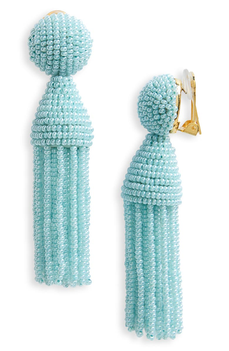 OSCAR DE LA RENTA 'Classic Short' Tassel Drop Clip Earrings, Main, color, 301