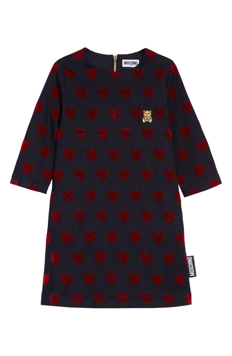 MOSCHINO All-Over Heart Denim Dress, Main, color, BLUE