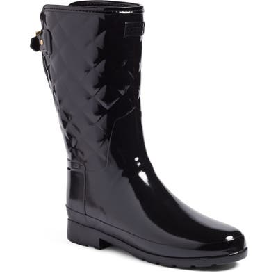 Hunter Refined High Gloss Quilted Short Waterproof Rain Boot, Black