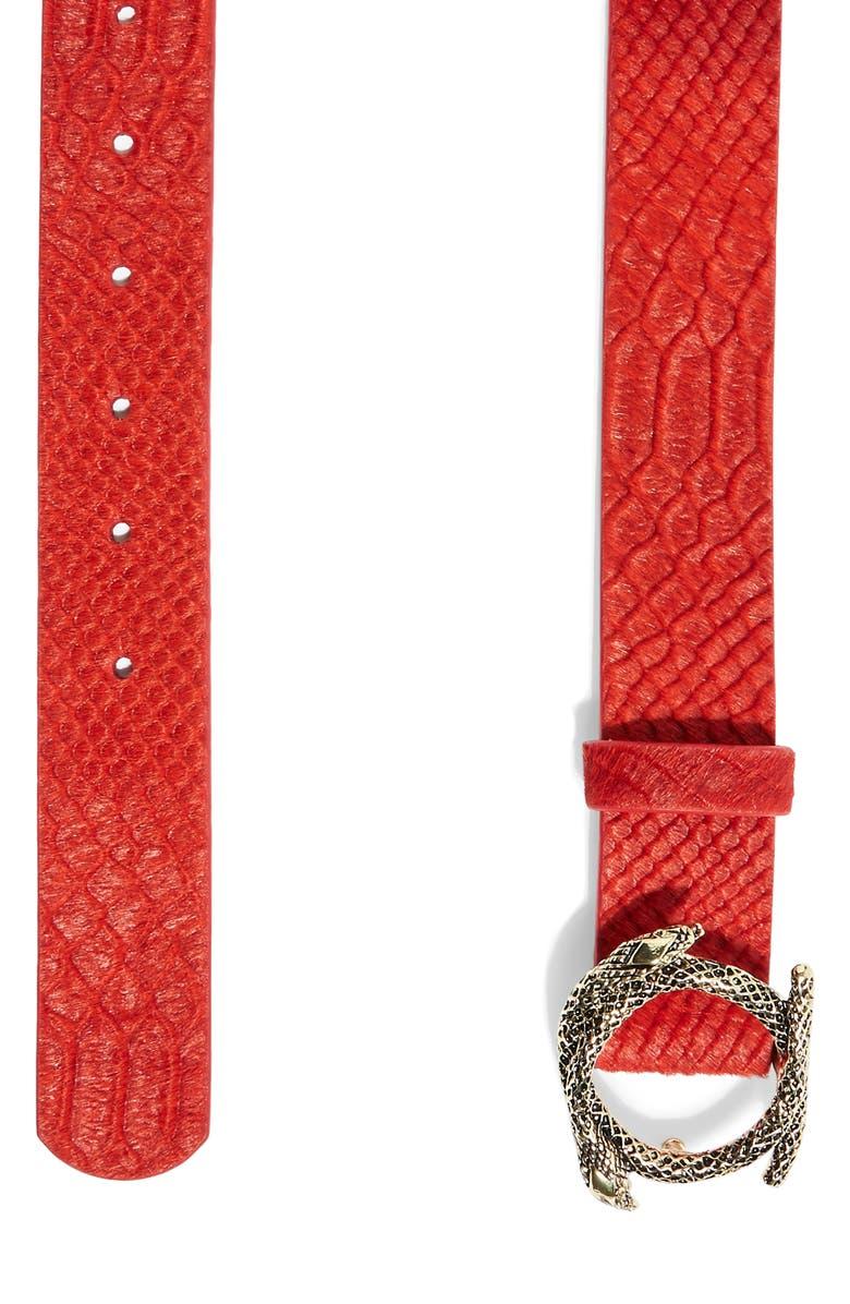 TOPSHOP Snake Embossed Genuine Calf Hair Belt, Main, color, RED MULTI