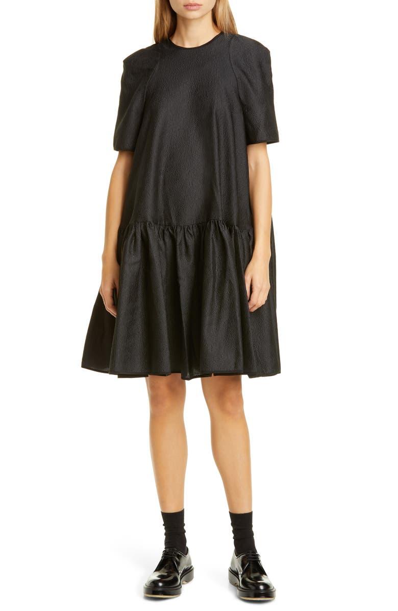 CECILIE BAHNSEN Annabella Floral Matelassé Dress, Main, color, BLACK