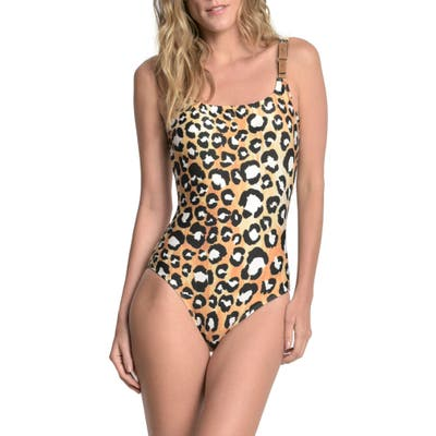Lenny Niemeyer Leopard Print One-Piece Swimsuit, Black