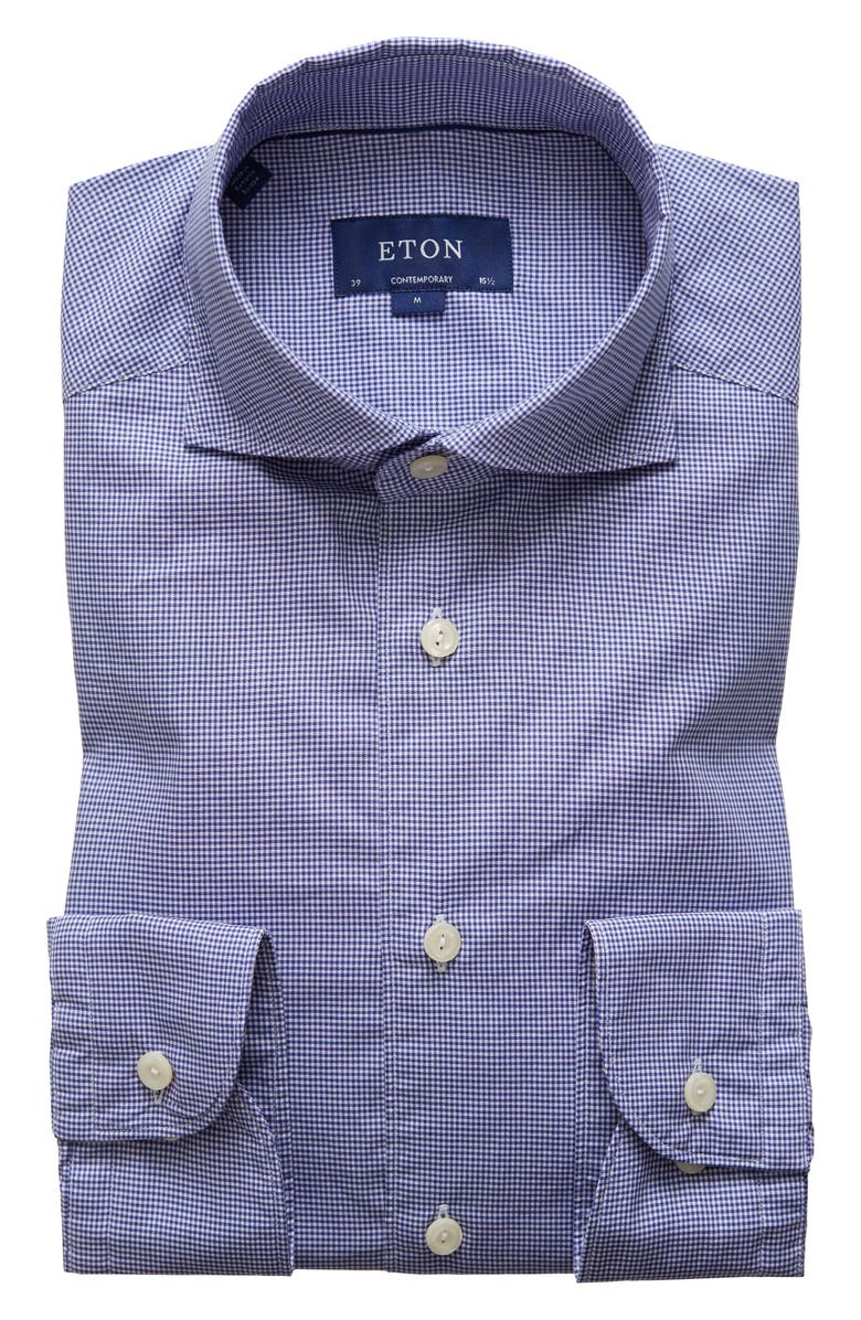 ETON Soft Contemporary Fit Check Dress Shirt, Main, color, BLUE