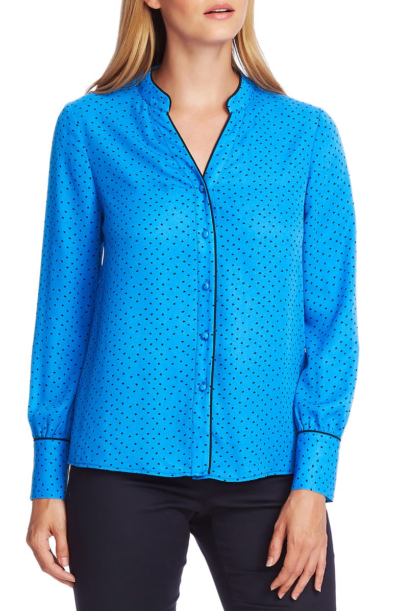 VINCE CAMUTO Ditsy Fragments Button-Up Blouse, Main, color, DEEP RIVER