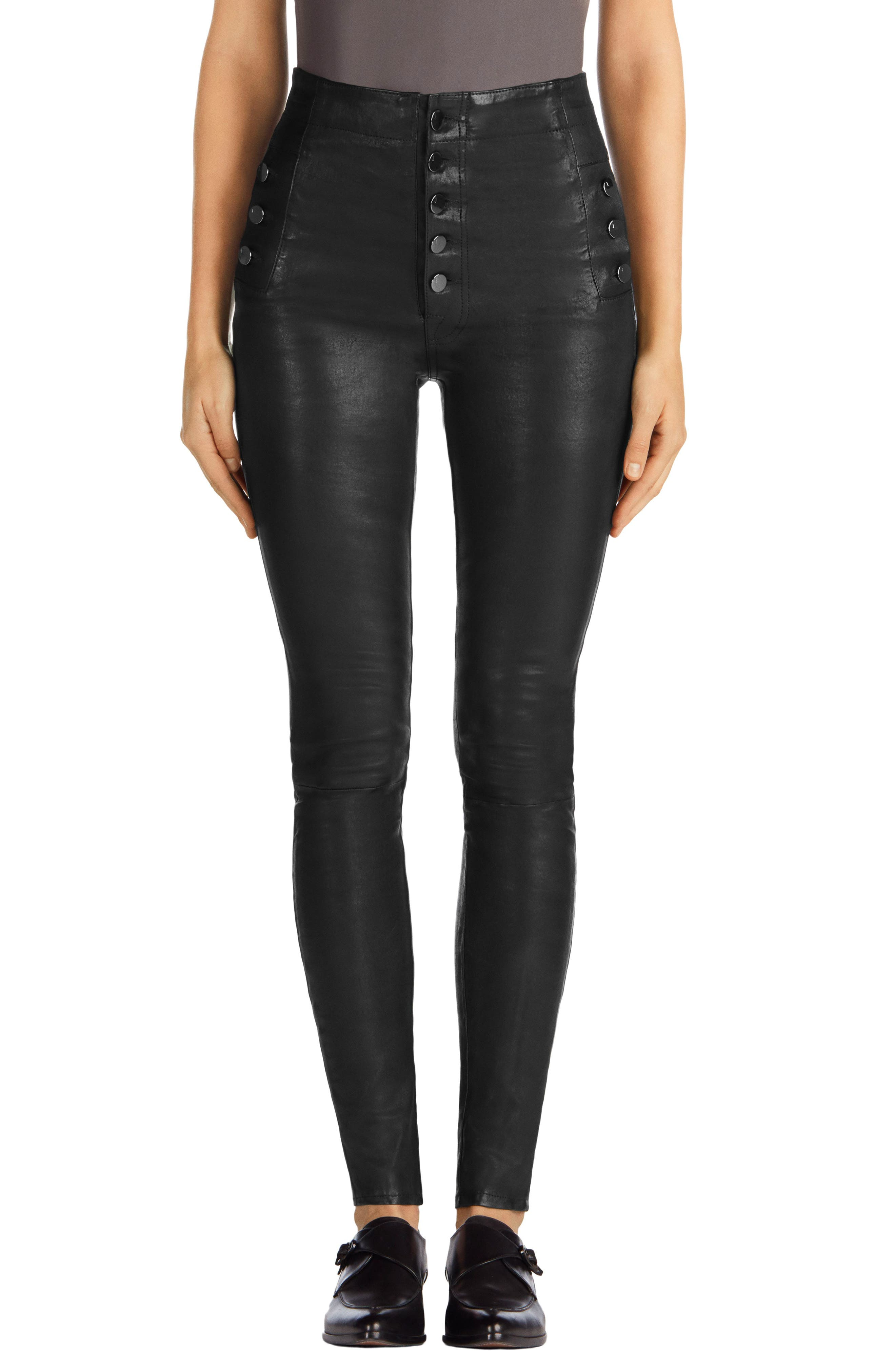 Natasha High Waist Skinny Leather Pants, Main, color, BLACK