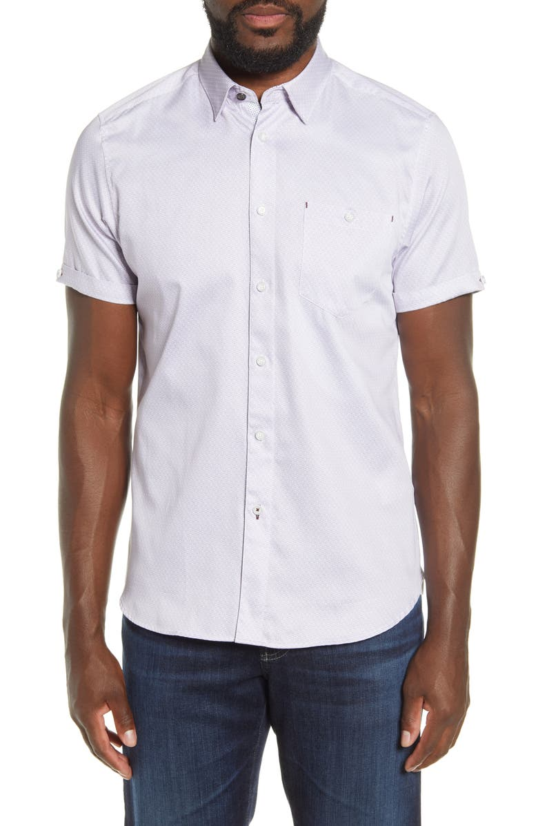 TED BAKER LONDON Slim Fit Geo Print Short Sleeve Button-Up Shirt, Main, color, LILAC