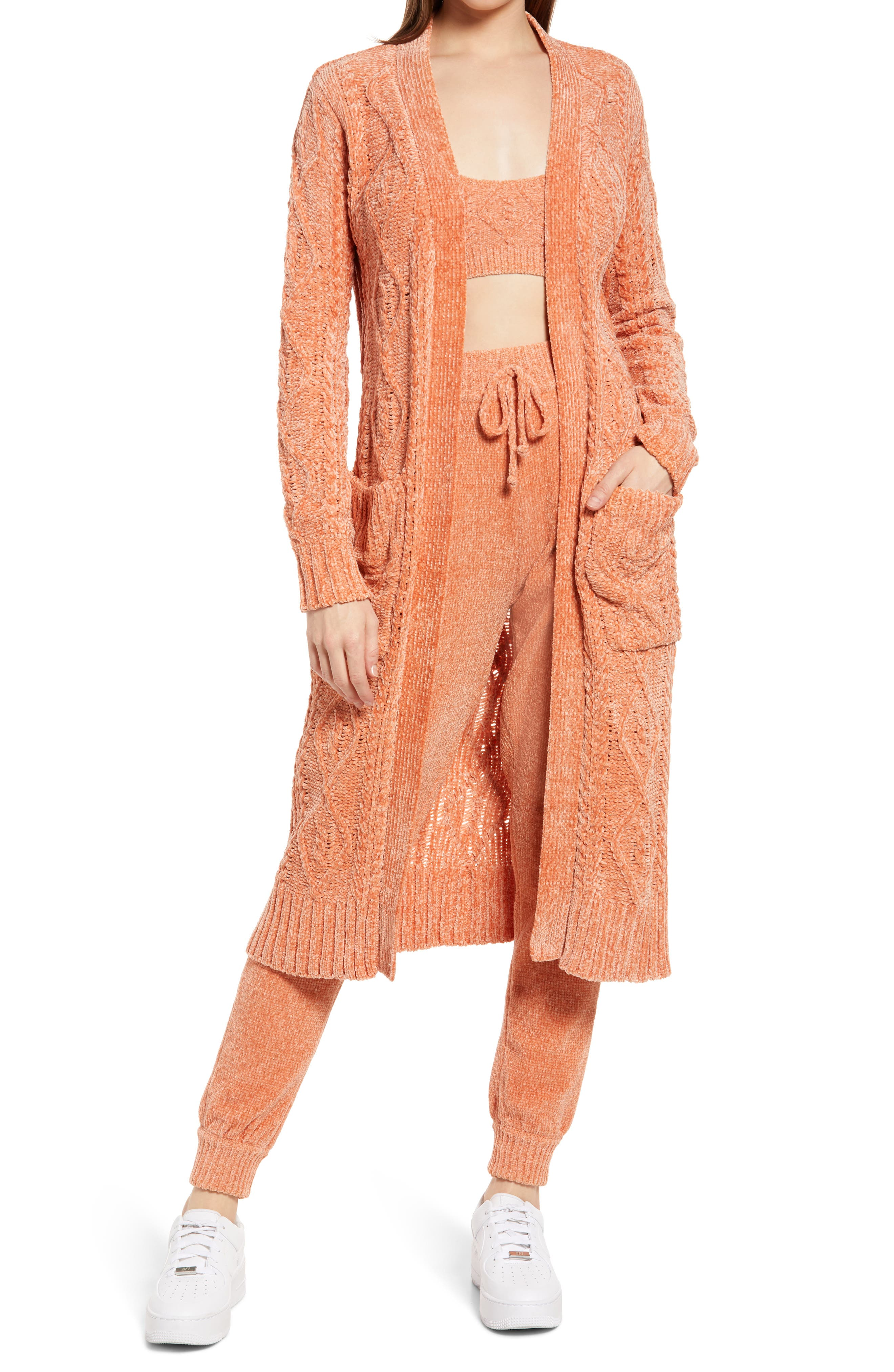 Women's Kendall + Kylie Cable Knit Longline Cardigan