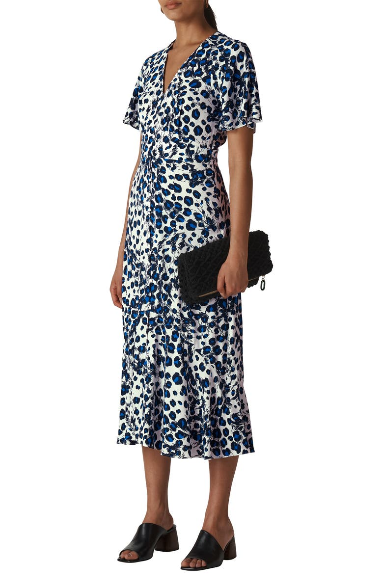WHISTLES Brushed Leopard Button Midi Dress, Main, color, BLU/ MULTI