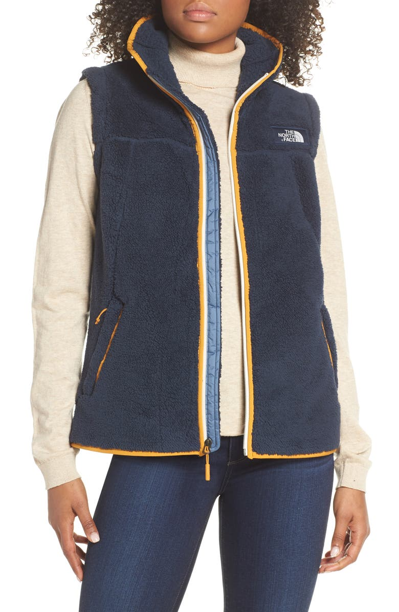 THE NORTH FACE Campshire Fleece Vest, Main, color, URBAN NAVY/ CITRINE YELLOW