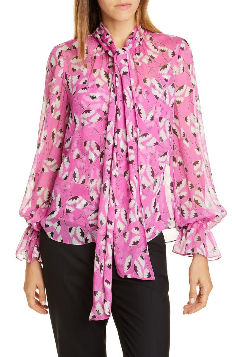 DVF Tina Tie-Neck Silk Blouse, Main, color, 650