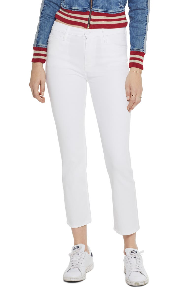 MOTHER The Dazzler High Waist Ankle Straight Leg Jeans, Main, color, 100