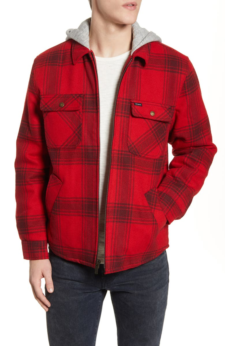 BRIXTON Bowery Plaid Flannel Hooded Jacket, Main, color, 600