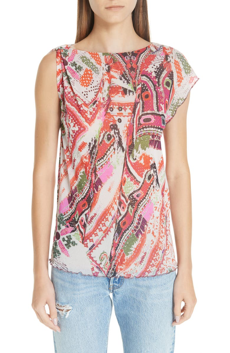 FUZZI Print Tulle One-Sleeve Top, Main, color, 100