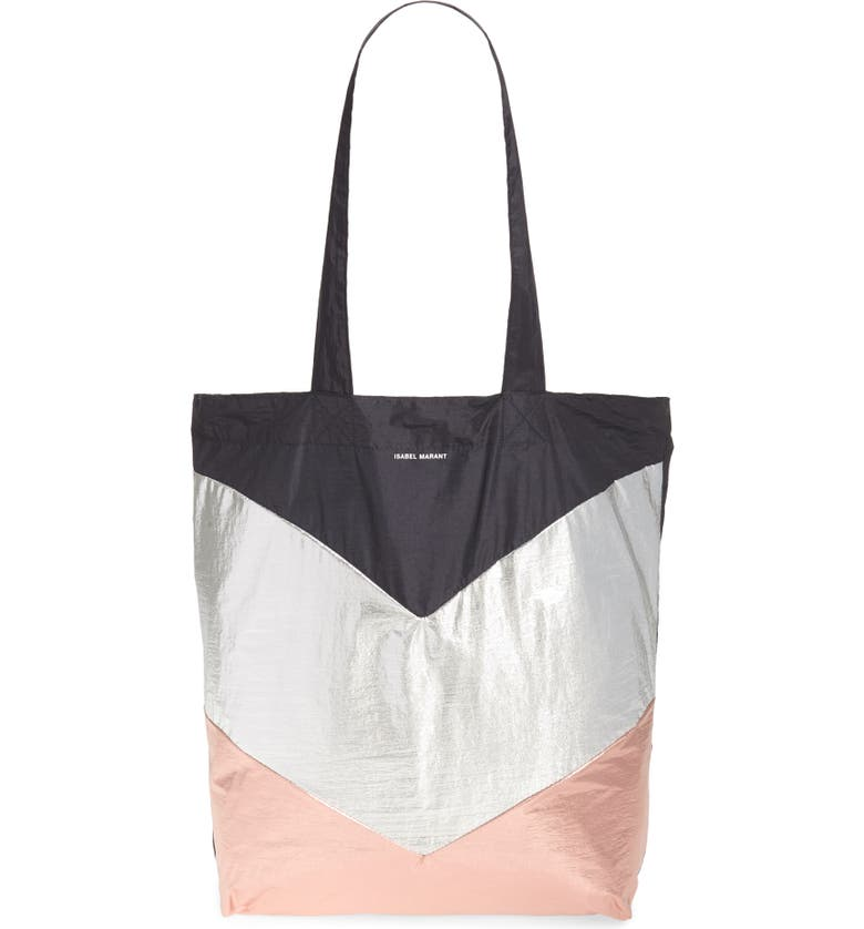 ISABEL MARANT Woom Packable Nylon Tote, Main, color, ROSEGOLD/ FADED BLACK