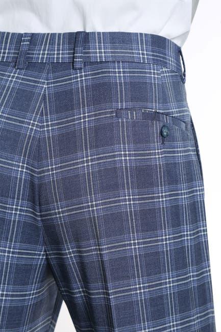 Image of English Laundry Blue Plaid Slim Fit Peak Lapel Suit