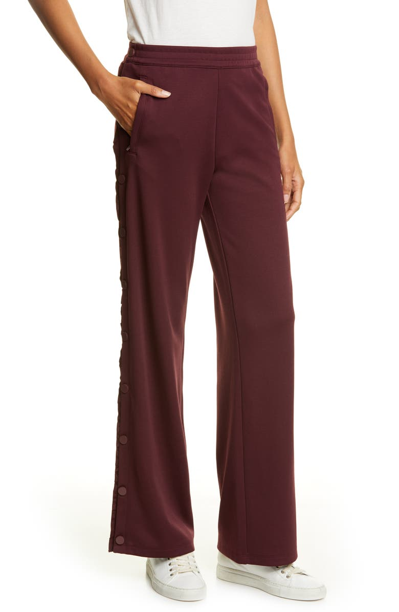 TORY SPORT Ruffle Tear Away Track Pants, Main, color, WINETASTING