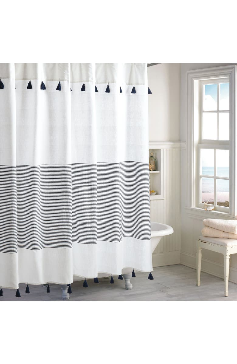 PERI HOME Panama Stripe Shower Curtain, Main, color, NAVY