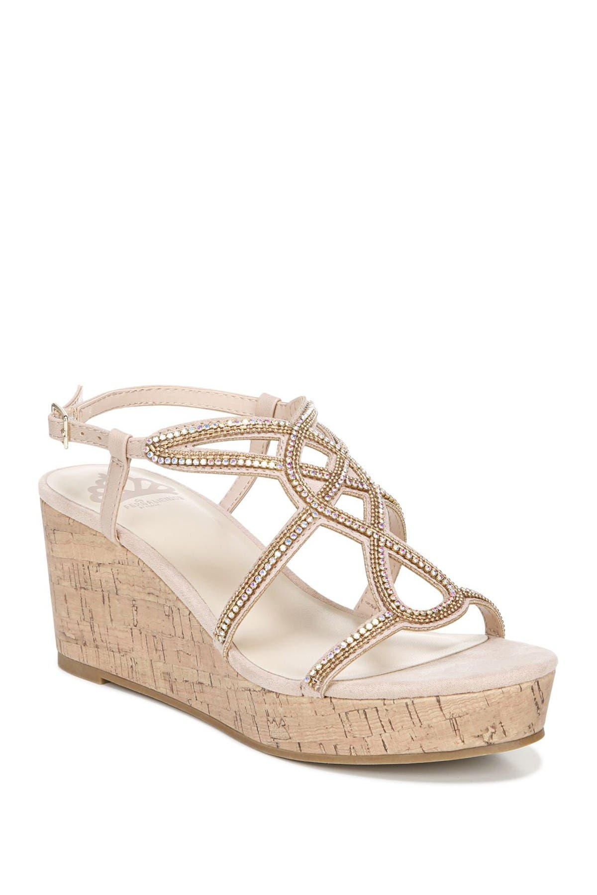 Image of Fergalicious Mimic Embellished Platform Wedge Sandal