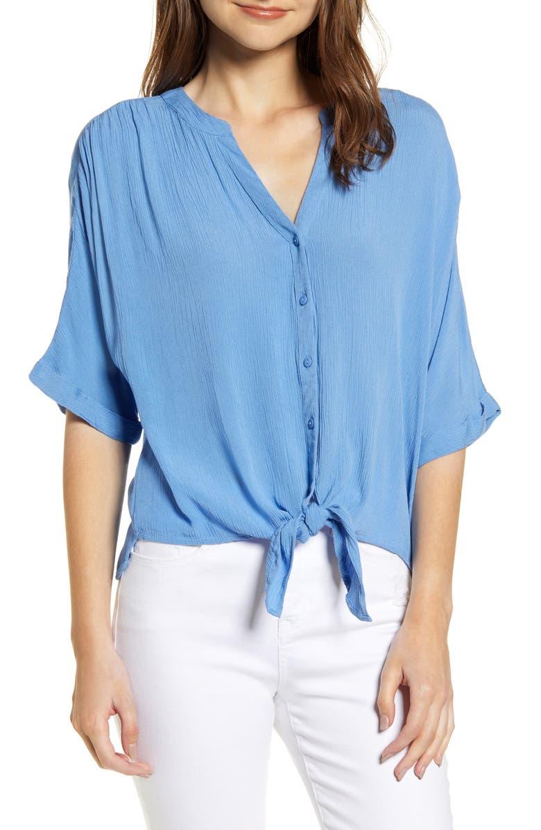 VERO MODA Mallory Tie Front Boxy Blouse, Main, color, 425