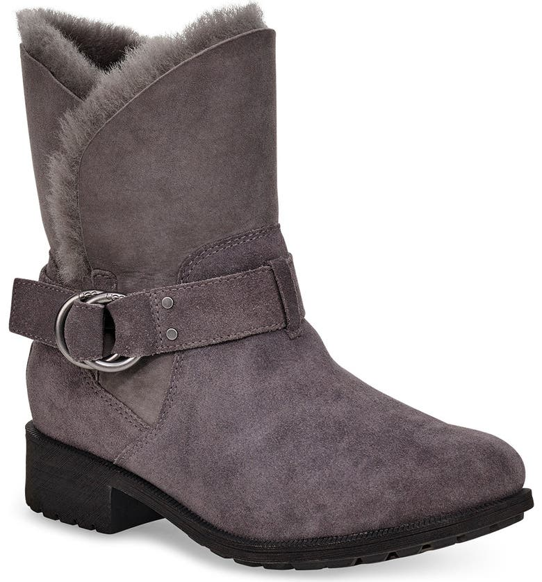 UGG<SUP>®</SUP> Bodie Moto Boot, Main, color, CHARCOAL SUEDE