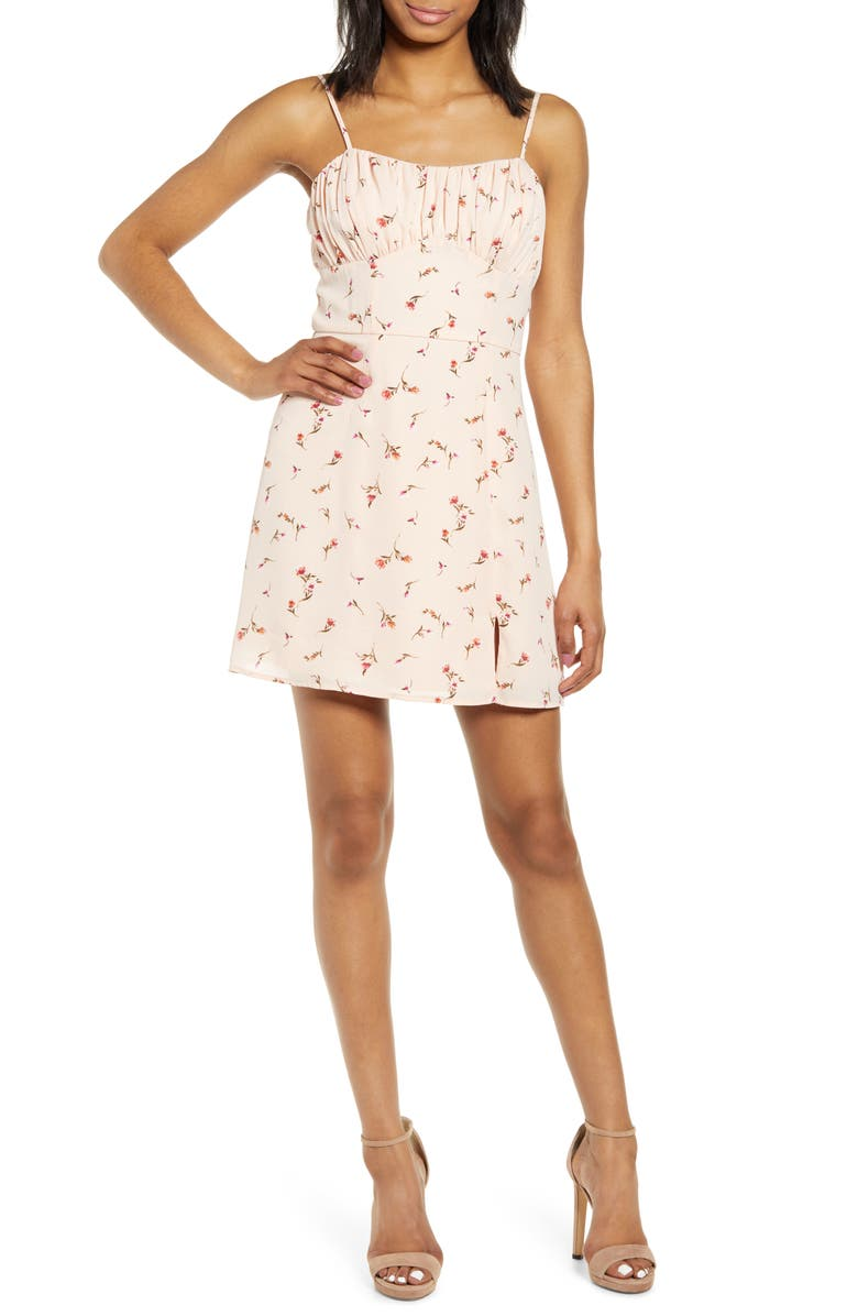 ROW A Emma Bustier Bodice Floral Print Minidress, Main, color, 680