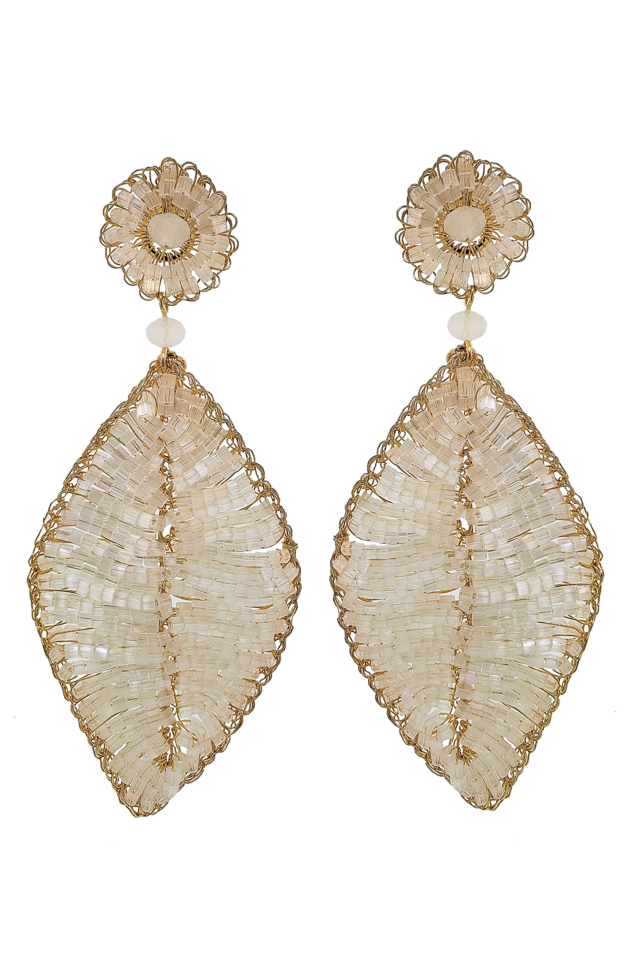 Women's Lavish Beaded Blossom Drop Earrings