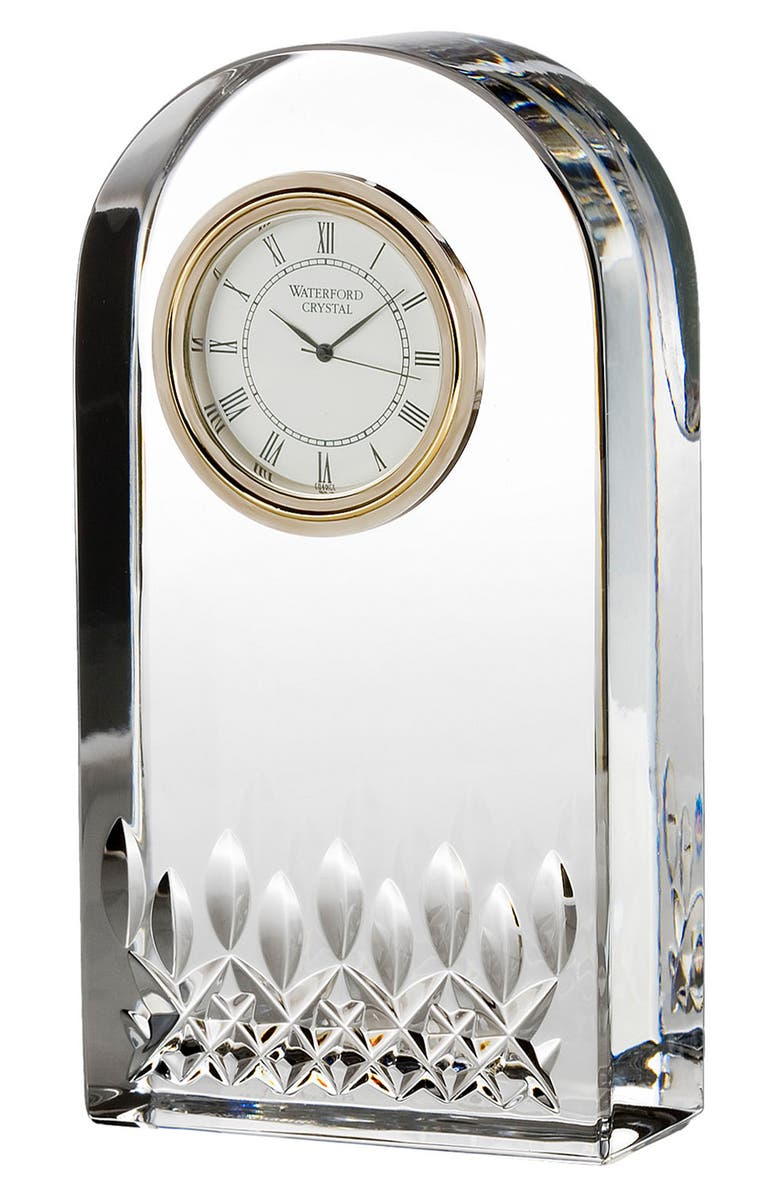 WATERFORD 'Lismore Essence' Lead Crystal Clock, Main, color, CLEAR