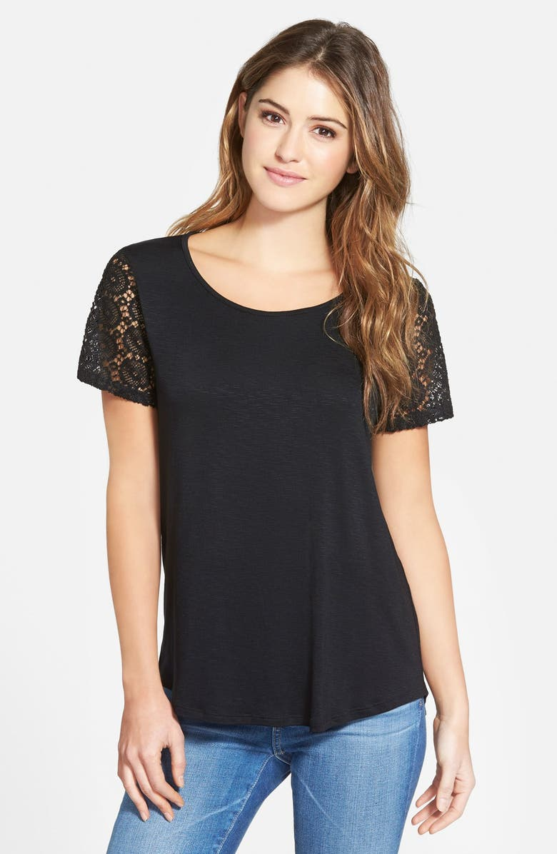 GIBSON Lace Sleeve Tee, Main, color, 001
