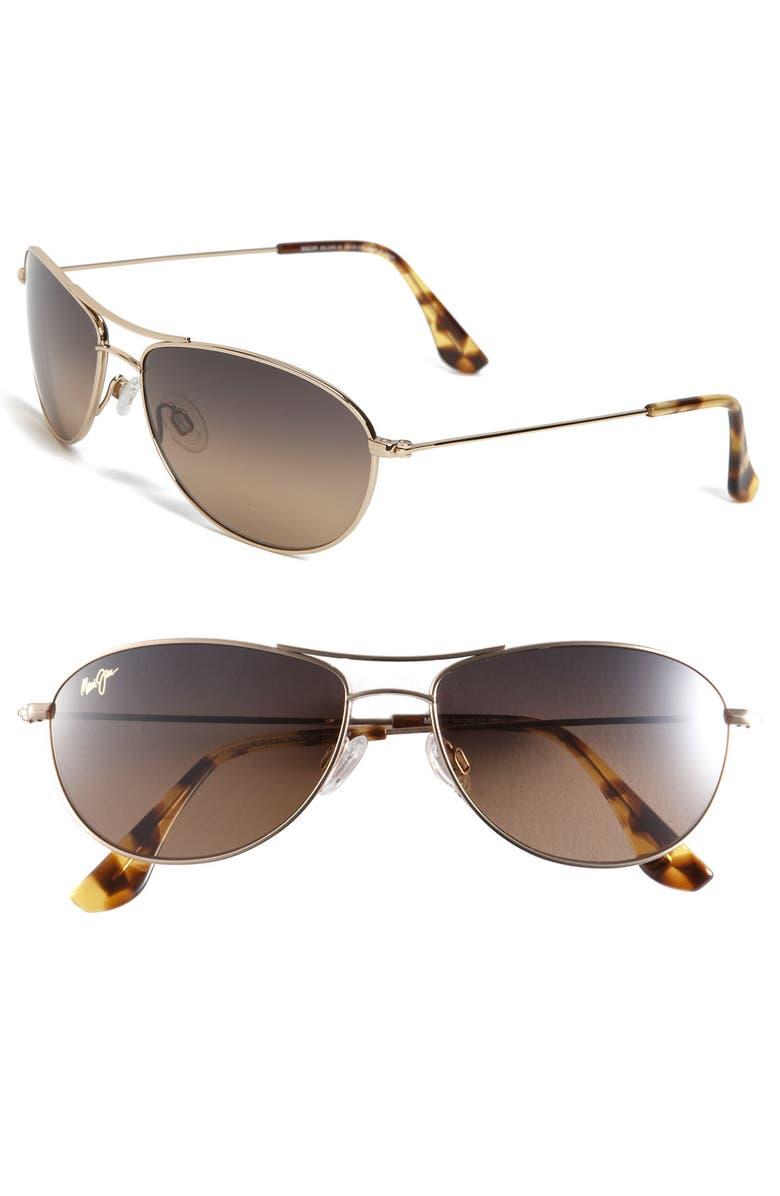 MAUI JIM Baby Beach 56mm PolarizedPlus2<sup>®</sup> Aviator Sunglasses, Main, color, GOLD/ TORTOISE