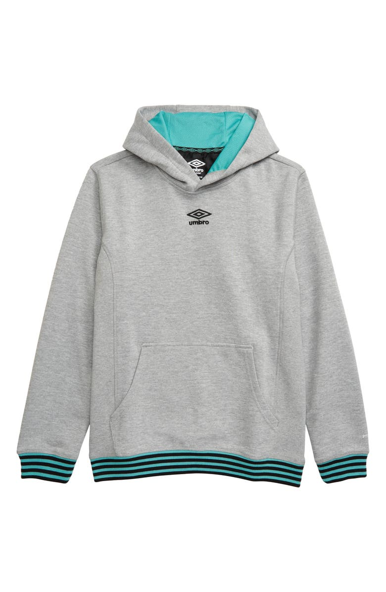 UMBRO Double Knit Hooded Pullover, Main, color, MEDIUM GREY HEATHER/ MINT