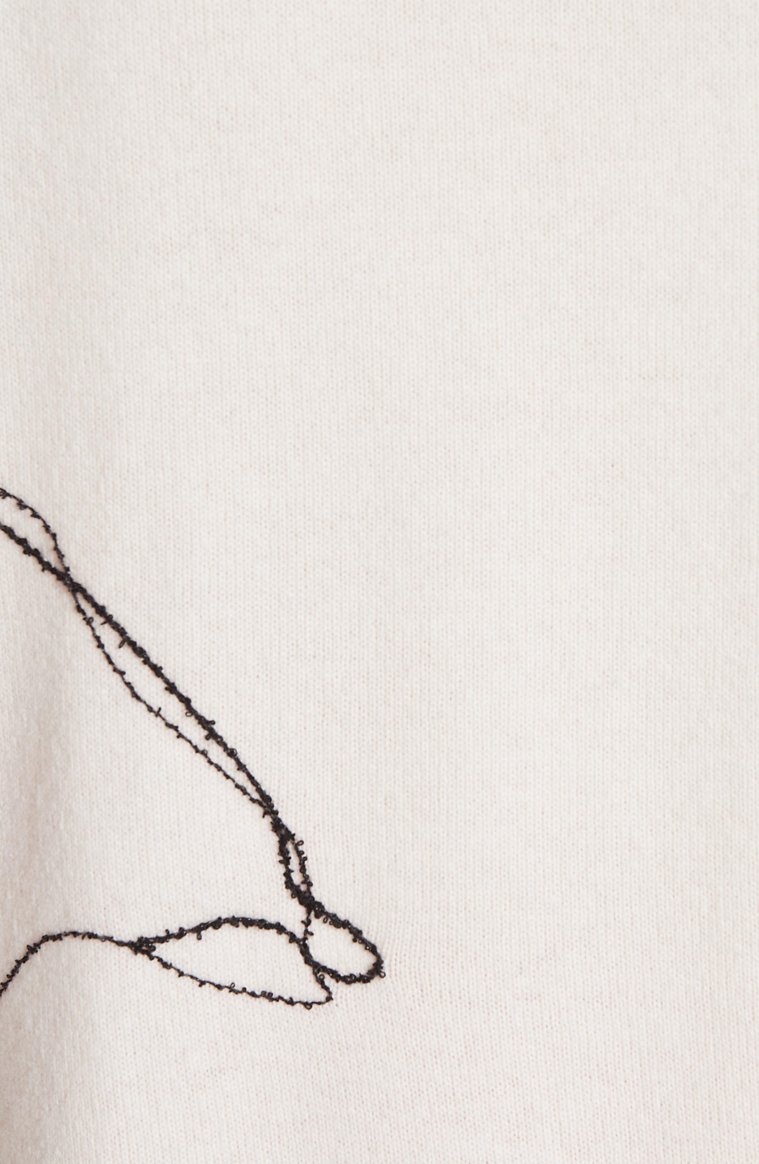 ,                             Intarsia Knit Cashmere Jersey Sweater,                             Alternate thumbnail 6, color,                             CREAM/ CRIMSON