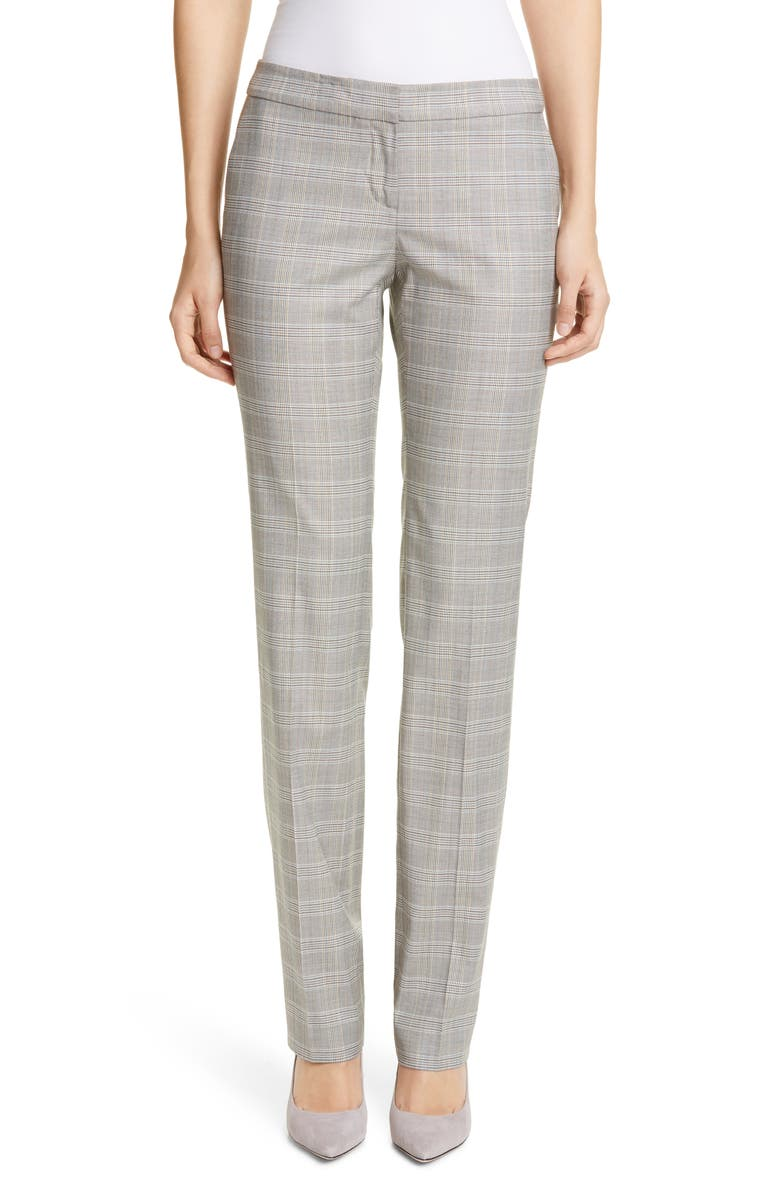 LAFAYETTE 148 NEW YORK Manhattan Plaid Stretch Wool Blend Pants, Main, color, 020