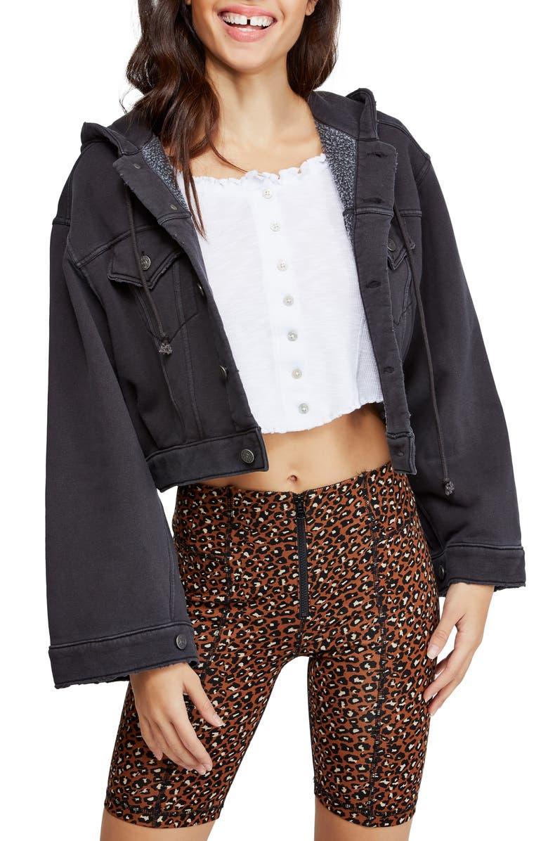FREE PEOPLE Dreamers Hooded Jacket, Main, color, DARK GREY
