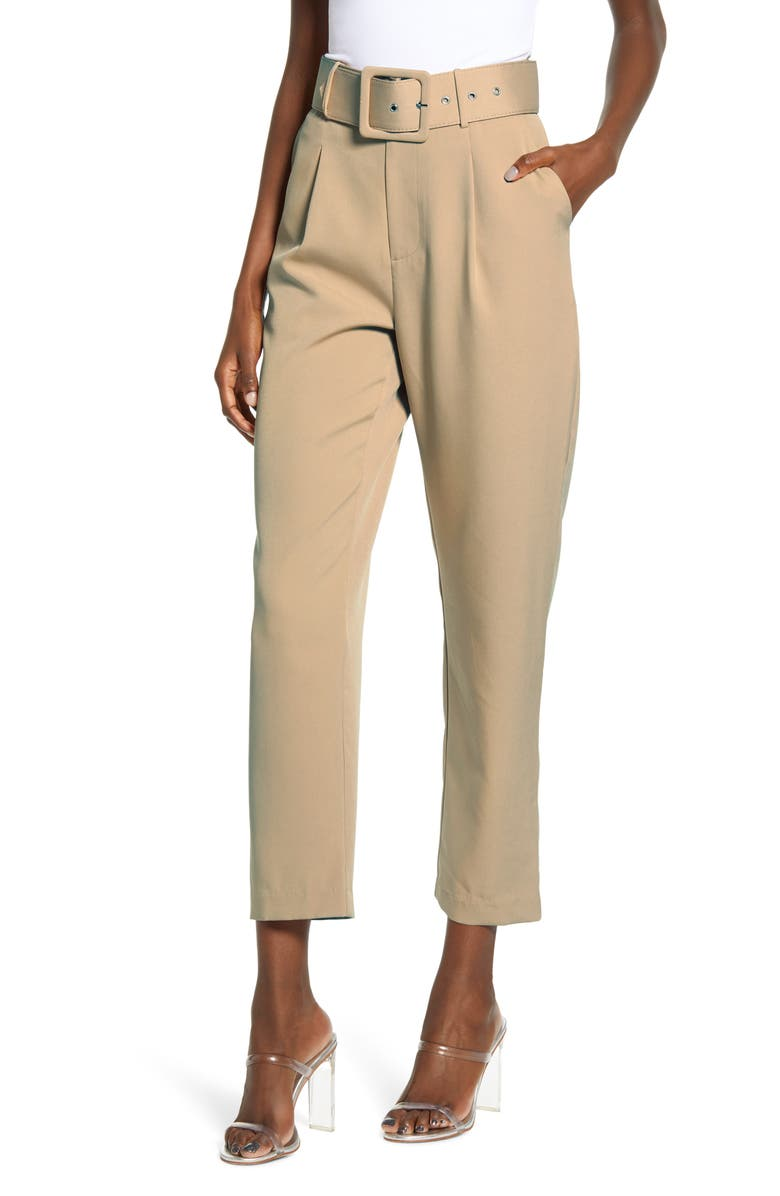 ENGLISH FACTORY Belted Crop Trousers, Main, color, TAN