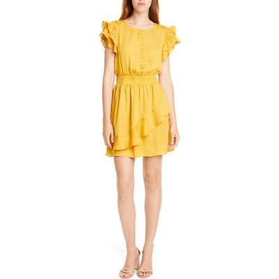 Dolan Sela Smocked Flutter Sleeve Minidress, Yellow