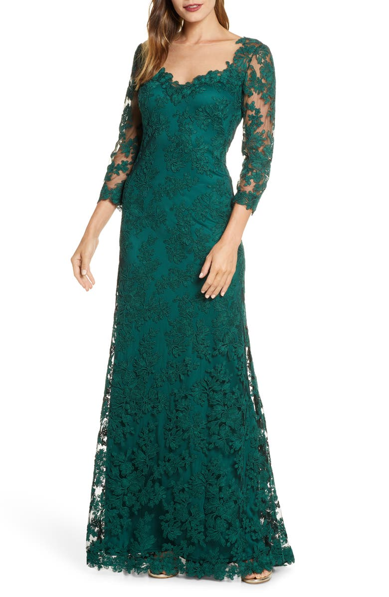TADASHI SHOJI Corded Embroidered Lace Gown, Main, color, SEAGRASS