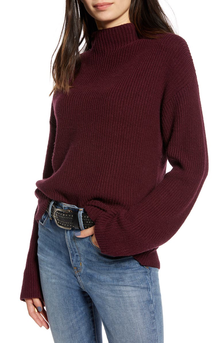 TREASURE & BOND Ribbed Funnel Neck Sweater, Main, color, BURGUNDY ROYALE