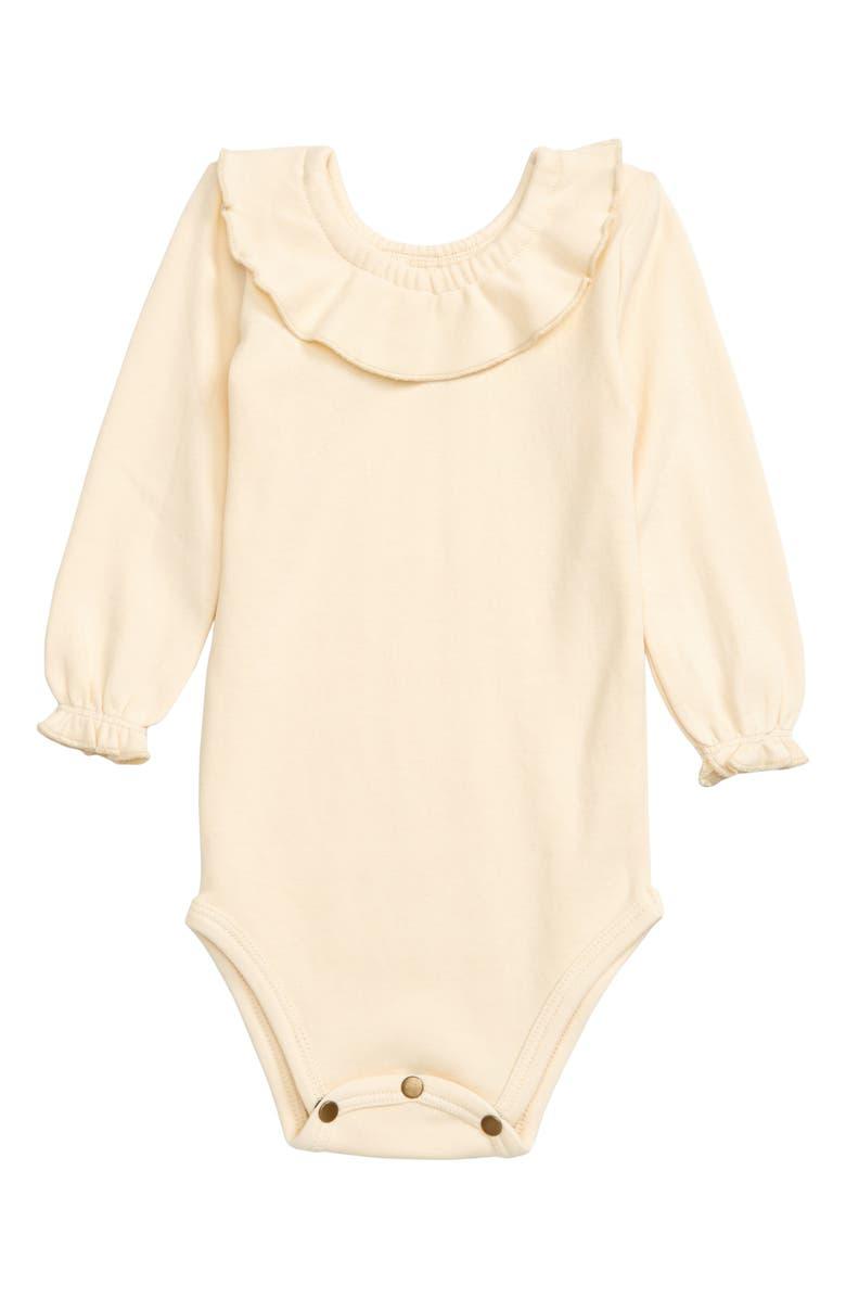 L'OVEDBABY Organic Cotton Ruffle Bodysuit, Main, color, BEIGE