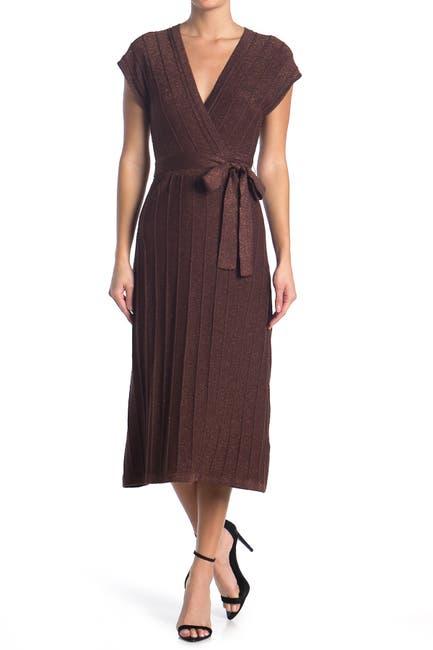 Image of Jealous Tomato Sparkle Knit Midi Wrap Sweater Dress
