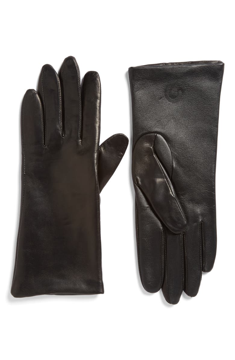 FOWNES BROTHERS 'Basic Tech' Cashmere Lined Leather Gloves, Main, color, 001