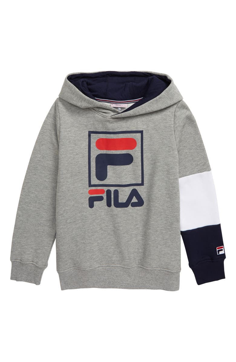 FILA Logo Fleece Pullover Hoodie, Main, color, 050
