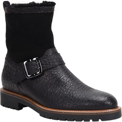 Ross & Snow Federico Weatherproof Genuine Shearling Lined Moto Boot, Black