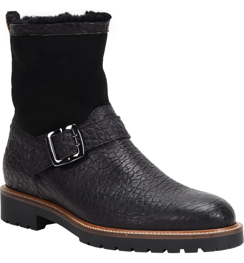 ROSS & SNOW Federico Waterproof Genuine Shearling Lined Moto Boot, Main, color, RUGGED BLACK
