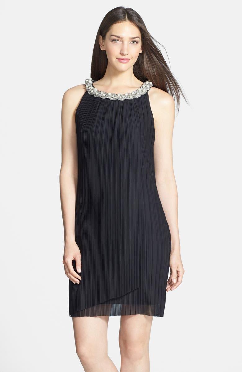DONNA RICCO Embellished Neck Chiffon Shift Dress, Main, color, 001