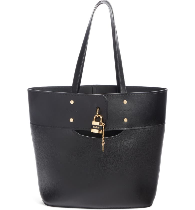 CHLOÉ Aby Medium Leather Tote, Main, color, BLACK
