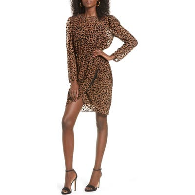 J.o.a. Leopard Print Long Sleeve Dress, Brown