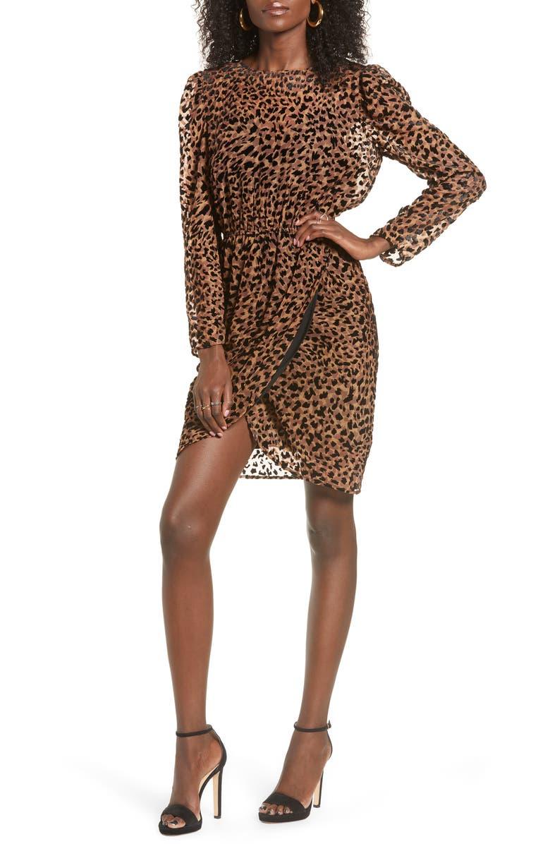 J.O.A. Leopard Print Long Sleeve Dress, Main, color, 200