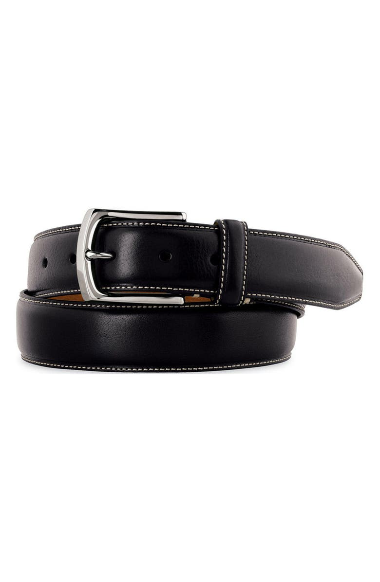 JOHNSTON & MURPHY Calfskin Leather Belt, Main, color, BLACK