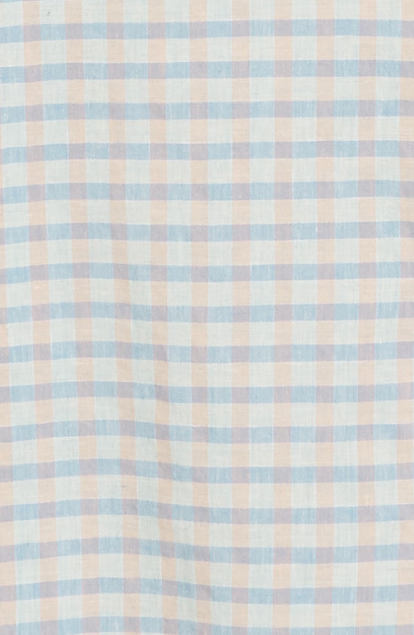 ,                             Ivy Heather Linen Blend Slim Fit Sport Shirt,                             Alternate thumbnail 6, color,                             TEAL FAIR BLUE GINGHAM